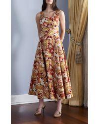 Gül Hürgel - Red Square Neck Midi Dress - Lyst