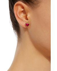 She Bee   Pink 14k Gold Topaz Heart Earrings   Lyst
