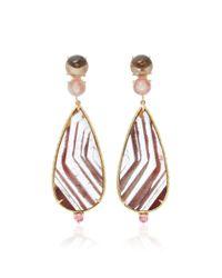 Daria de Koning - Brown Lodolite Pear 18k Yellow Gold Multi-stone Earrings - Lyst