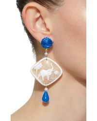Anna E Alex - Blue Shell, Stone And Silver-plated Earrings - Lyst