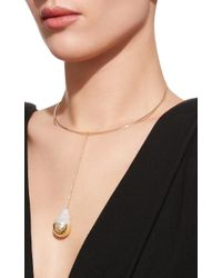 Mizuki - Metallic One-of-a-kind Fluid Pearl Drop Collar Necklace - Lyst