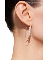Mizuki - White Small Graduated Pearl Marquis Earrings - Lyst