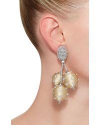 Oscar de la Renta - Metallic Triple Ball Polka Dot Earrings - Lyst