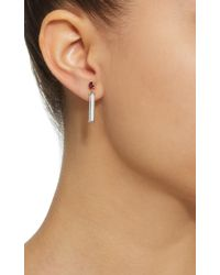 Yi Collection - Pink 18k Gold, Ruby And Aquamarine Bar Earrings - Lyst