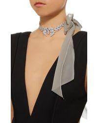 Fallon - Gray Crystal Embellished Tuxedo Bow Choker Necklace - Lyst