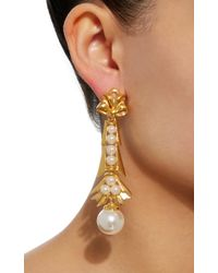 Ben-Amun - Metallic Gold-plated Brass And Pearl Earrings - Lyst