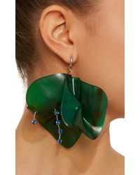 Marni - Green Horn Petal And Strass Earrings - Lyst