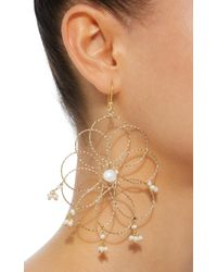 Rosantica - White Cosmo Gold-tone Pearl Earrings - Lyst