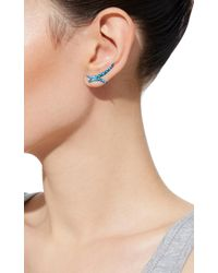 AS29 | Blue Spike Long Earring With Pear Diamond In Turquoise | Lyst