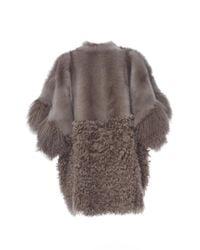 Agnona - Gray Fur Block Zip Poncho - Lyst