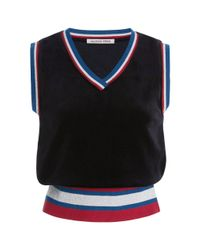 Maison Père | Black Cropped Velvet Sweater | Lyst