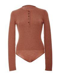 Protagonist | Brown Henley Knit Bodysuit | Lyst