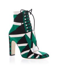 Sergio Rossi | Green Sr1 Lace Up Graphic Boot | Lyst