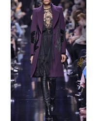 Elie Saab | Purple Wool Coat With Velvet Inserts | Lyst