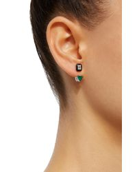 Nikos Koulis   Green Oui Earring Jackets With Emerald Cut White Diamonds And Emeralds   Lyst