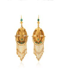 Fred Leighton - Metallic Victorian Yellow Gold And Emerald Fringe Pendant Earrings - Lyst