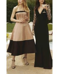 Elizabeth Kennedy | Black Embroidered Long Sleeve Gown | Lyst