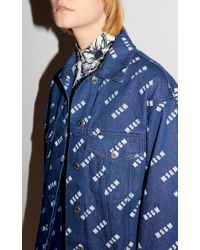 MSGM - Blue Sixsties Micro Flower Printed Blouse - Lyst