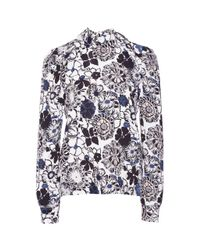 MSGM | Blue Sixsties Micro Flower Printed Blouse | Lyst