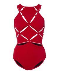 OYE Swimwear Red Poppy Lace Up One Piece Swimsuit