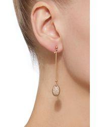 Georg Jensen | Pink Rose Gold Vivianna Dew Drop Earrings With Diamond Pave | Lyst