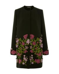 Zac Posen | Black Bonded Crepe Embroidered Coat | Lyst