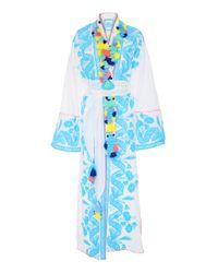 Yuliya Magdych   Blue Lace Batiste Tassel Midi Robe   Lyst