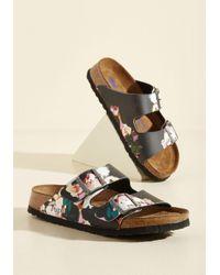Lyst - Birkenstock Strappy Camper Sandal In Black Floral - Narrow in ... 6eebf7b91ec