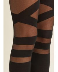 ModCloth | Black Strappy To Be Here Tights | Lyst