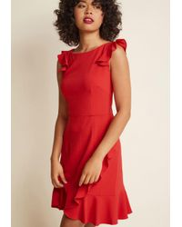 ModCloth | Red Resounding Ruffles A-line Dress | Lyst