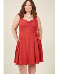 ModCloth | Red Retro Glow Pin-up A-line Dress In Crimson | Lyst