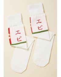 ModCloth | Orange Raw And Order Socks In Shrimp Sashimi | Lyst