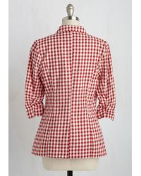 Esley - White Hold Vp: Fine And Sandy Blazer In Red Gingham - Lyst