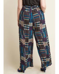 ModCloth | Blue Pocketed Wide-leg Pants In Plaid Patchwork | Lyst