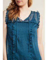ModCloth - Blue Sleeveless Ruffled Chiffon Top In Teal - Lyst