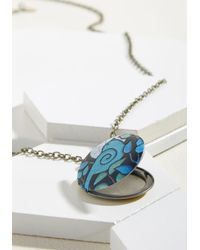 ModCloth - Blue Locket Like It's Hot Necklace - Lyst