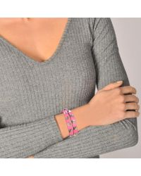 Valentino - Multicolor Rockstud Double Rows Bracelet Or Choker Necklace In Shadow Pink Calfskin - Lyst