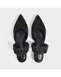 Nicholas Kirkwood - Black Suzi Suede And Ruched Leather Slingback Point-toe Flats - Lyst
