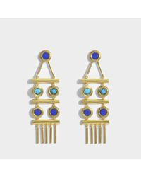Joanna Laura Constantine - Multicolor Statement Earrings In Gold-plated Brass With Lapis Lazuli And Malachite - Lyst