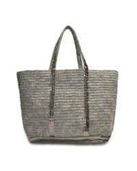 Vanessa Bruno - Gray Raffia And Sequins Medium + Tote - Lyst