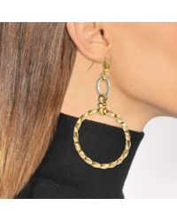 Aris Geldis - Metallic Assymetrical Circular Earrings In Gold And Silver Plated Brass - Lyst