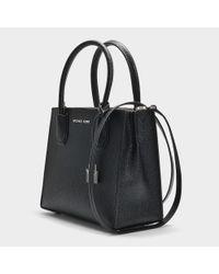 MICHAEL Michael Kors - Mercer Medium Messenger Bag In Black Calfskin - Lyst