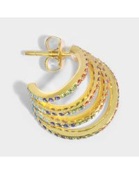 Joanna Laura Constantine - Metallic Set Of Three Rainbow Criss Cross Hoop Earrings In Multi Gold-plated Brass With Multicolored Stones - Lyst
