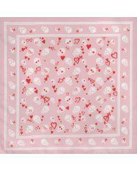 Alexander McQueen - Pink 104 X 120 Sweethearts Skull Silk Scarf - Lyst