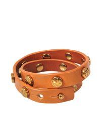 Tory Burch | Brown Double Wrap Logo Stud Bracelet | Lyst
