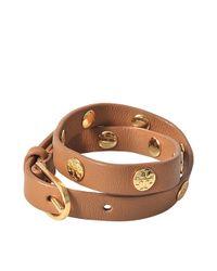 Tory Burch | Brown Double-wrap Logo Studded Bracelet | Lyst