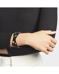 Tory Burch - Metallic Double-wrap Logo Stud Bracelet In Enamel And Leather Calfskin - Lyst