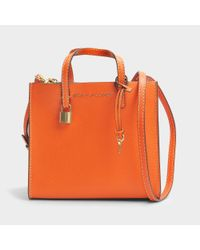 Marc Jacobs - Orange The Mini Grind Tote Bag In White Glow Cow Leather - Lyst