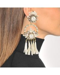 Shourouk - Multicolor Malena White Earrings In White Brass, Raffia, Swarovski Crystals And Pearls - Lyst