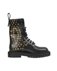 Burberry | Multicolor Eyelet And Rivet Detail Leather Army Boots | Lyst